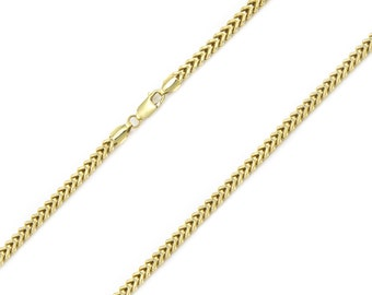 "10K Yellow Gold Hollow Franco Necklace Chain 2.5mm 16-30"" - Box Link"