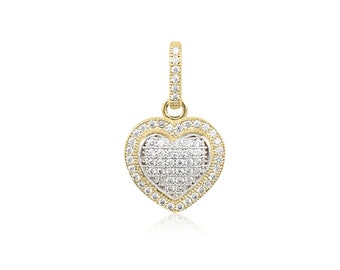 14K Solid Yellow Gold Cubic Zirconia Heart Pendant - Love Necklace Charm