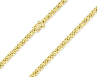 """14K Yellow Gold Hollow Miami Cuban Necklace Chain 5.5mm 20-30"""" - Round Curb Link"""