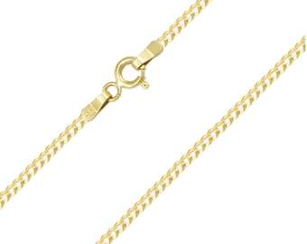 "14K Solid Yellow Gold Cuban Necklace Chain 2.0mm 16-24"" - Round Curb Link"