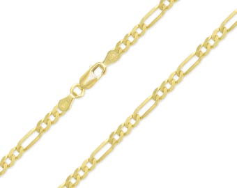 "14K Yellow Gold Hollow Figaro Necklace Chain 4.5mm 18-30"" - Polished Link"