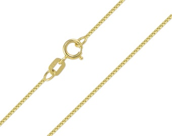 "14K Solid Yellow Gold Box Necklace Chain 0.5mm 16-22"" - Polished Link"