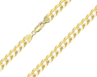 "14K Solid Yellow Gold Cuban Necklace Chain 6.0mm 20-30"" - Round Curb Link"