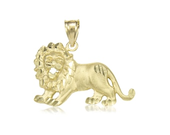 14K Solid Yellow Gold Lion Pendant - Diamond Cut Necklace Charm