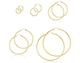 14K Yellow Gold Round Hoop Earrings 2.0mm 13-65mm - Classic Polished Plain Tube