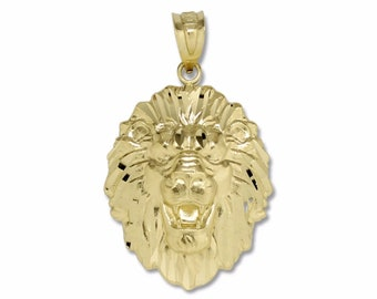 10K Solid Yellow Gold Lion Head Pendant - Face Necklace Charm