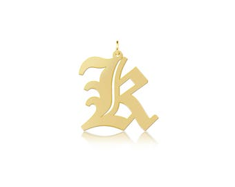 14K Solid Yellow Gold Custom Uppercase Old English Initial Letter Pendant - A-Z Any Alphabet Necklace Charm