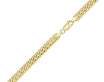 "10K Yellow Gold Hollow Miami Cuban Bracelet 6.5mm 8-9"" Curb Chain Link"