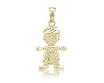 10K Solid Yellow Gold It's A Boy Pendant - Polished Necklace Charm