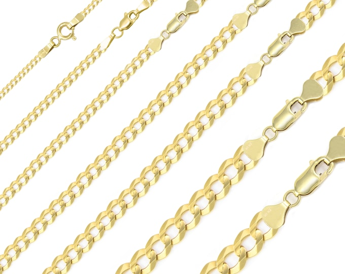 "Featured listing image: 10K Solid Yellow Gold Cuban Necklace Chain 2.0-12.5mm 16-30"" - Round Curb Link"