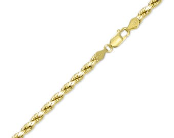 "10K Yellow Gold Hollow Diamond Cut Rope Bracelet 4.0mm 7-9"" - Chain Link"