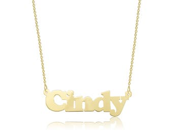 10K Solid Yellow Gold Personalized Custom Name Pendant Rolo Chain Necklace Set - Alphabet Letter Charm