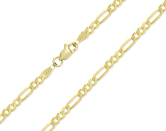 """10K Solid Yellow Gold Classic Figaro Necklace Chain 3.2mm 18-26"""" - Polished Link"""