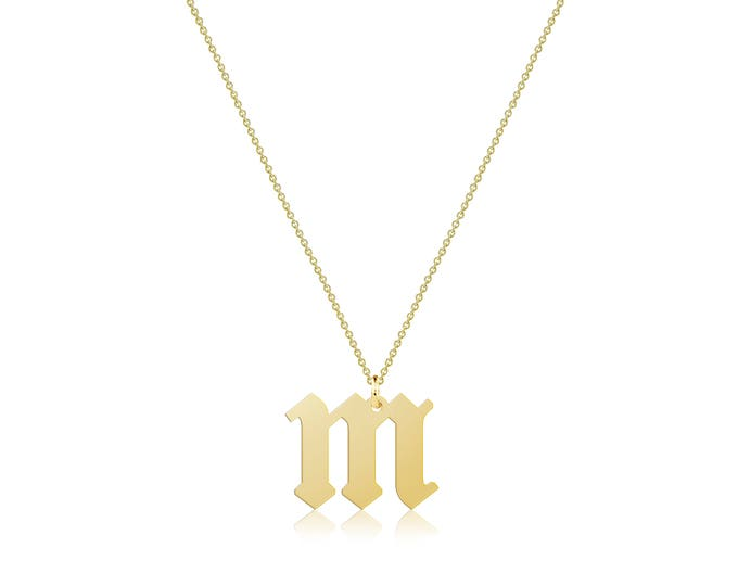 Featured listing image: 14K Solid Yellow Gold Custom Lowercase Old English Initial Letter Pendant Rolo Chain Necklace Set - A-Z Any Alphabet Charm