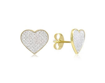 10K Solid Yellow Gold Cubic Zirconia Heart Stud Earrings - Love Cluster