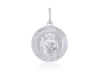 14K Solid White Gold Saint Jude Medal Pendant - San Judas Thaddeus Round Necklace Charm