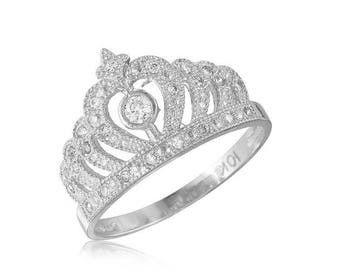 14K Solid White Gold Cubic Zirconia Crown Ring - Royal Band