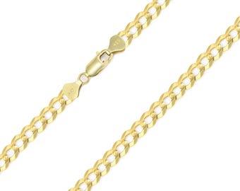 "14K Solid Yellow Gold Cuban Necklace Chain 5.0mm 18-30"" - Round Curb Link"