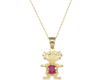 10K Solid Yellow Gold Cubic Zirconia Birthstone Girl Pendant Singapore Chain Necklace Set - Any Color Charm