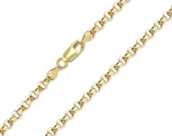 "10K Yellow Gold Hollow Rolo Necklace Chain 3.0mm 18-32"" - Round Cable Link"