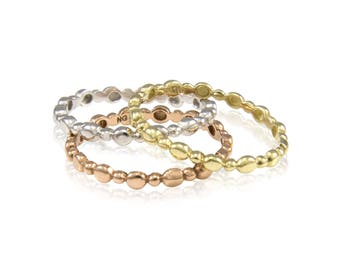 10K Solid Yellow White Rose Gold Stackable 3 Ring Set - Finger Knuckle Midi Band