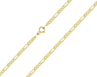 "14K Yellow Gold Hollow Figaro Necklace Chain 2.0mm 16-26"" - Polished Link"