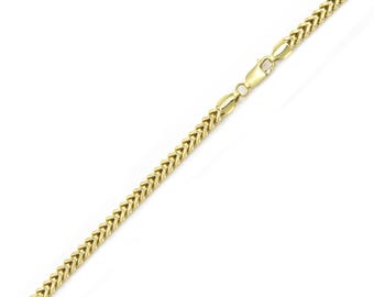 "10K Yellow Gold Hollow Franco Bracelet 3.0mm 7-9"" - Box Chain Link"