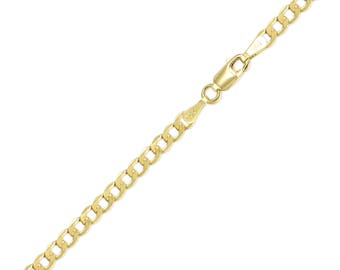 "10K Yellow Gold Hollow Cuban Bracelet 4.8mm 7-9"" - Curb Chain Link"