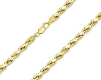 "14K Yellow Gold Hollow Diamond Cut Rope Necklace Chain 5.0mm 20-30"" - Link"