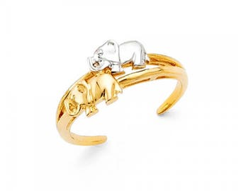 14K Solid Yellow White Gold Twin Elephant Toe Ring Adjustable - Good Luck Band Women's