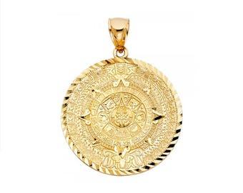 Aztec pendant etsy 10k solid yellow gold aztec calendar pendant sun medal necklace charm aloadofball Image collections