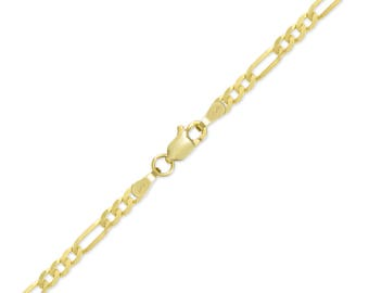 "10K Yellow Gold Hollow Figaro Bracelet 3.5mm 7-9"" - Polished Chain Link"
