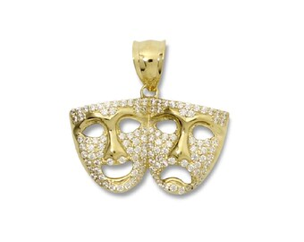 10K Solid Yellow Gold Cubic Zirconia Comedy Tragedy Mask Pendant - Theater Drama Necklace Charm