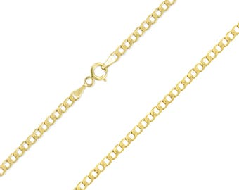 "10K Yellow Gold Hollow Cuban Necklace Chain 2.0mm 16-26"" - Round Curb Link"