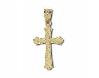 14K Solid Yellow Gold Diamond Cut Fleur-De-Lis Cross Pendant - Necklace Charm