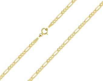 """10K Yellow Gold Hollow Figaro Necklace Chain 2.0mm 16-26"""" - Polished Link"""