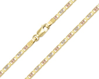 "14K Solid Yellow White Rose Gold Valentino Necklace Chain 2.6mm 16-24"" - Tri Color Link"