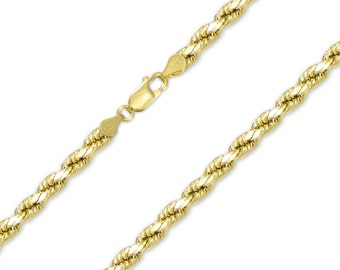 "10K Yellow Gold Hollow Diamond Cut Rope Necklace Chain 5.0mm 20-30"" - Link"