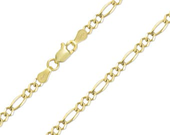 "10K Solid Yellow Gold Figaro Necklace Chain 6.0mm 20-30"" - Polished Link"