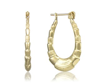 14K Yellow Gold Scalloped Hoop Earrings - Oval Shrimp Puffy Hollow Door Knocker