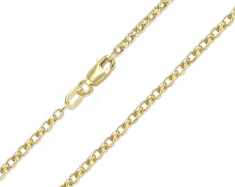 "10K Yellow Gold Hollow Rolo Anklet 2.5mm 10"" - Cable Chain Link"
