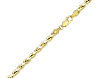 "14K Solid Yellow Gold Diamond Cut Rope Bracelet 4.0mm 7-9"" - Chain Link"