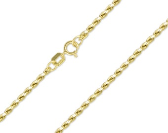 "10K Yellow Gold Hollow Diamond Cut Rope Necklace Chain 2.0mm 16-30"" - Link"