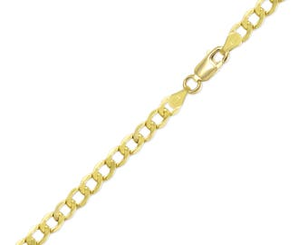 "14K Yellow Gold Hollow Cuban Bracelet 5.5mm 7-9"" - Curb Chain Link"