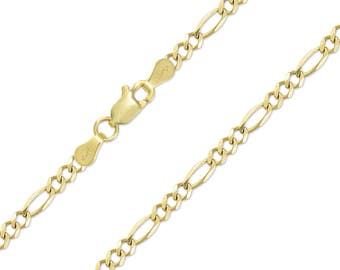 "10K Solid Yellow Gold Figaro Necklace Chain 5.0mm 18-30"" - Polished Link"