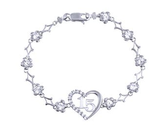 10K Solid White Gold Cubic Zirconia Heart Sweet 15 Bracelet - Flower Quinceanera Anos Birthday