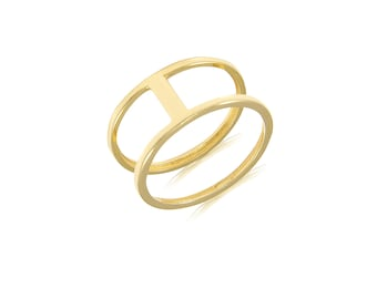 14K Solid Yellow Gold Double Band Bar Ring - Two Row Stackable Finger Knuckle Midi Thumb Band