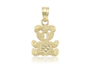 14K Solid Yellow Gold Teddy Bear Pendant - Diamond Cut Necklace Charm