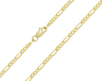 "14K Yellow Gold Hollow Figaro Necklace Chain 2.5mm 16-26"" - Polished Link"
