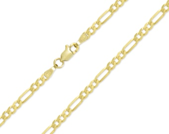 "14K Solid Yellow Gold Classic Figaro Necklace Chain 3.2mm 18-26"" - Polished Link"
